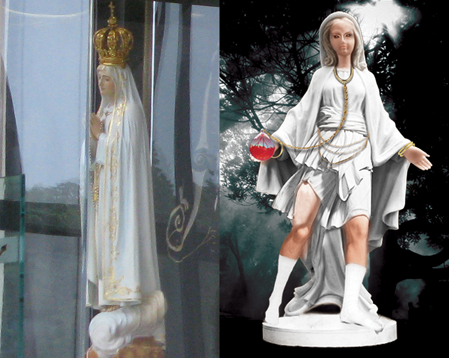 Statue at Fatima Chapel and Image of That the Children Saw
