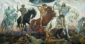 Four Horsemen of the Apocalypse an 1887 painting by Victor Vasnetsov